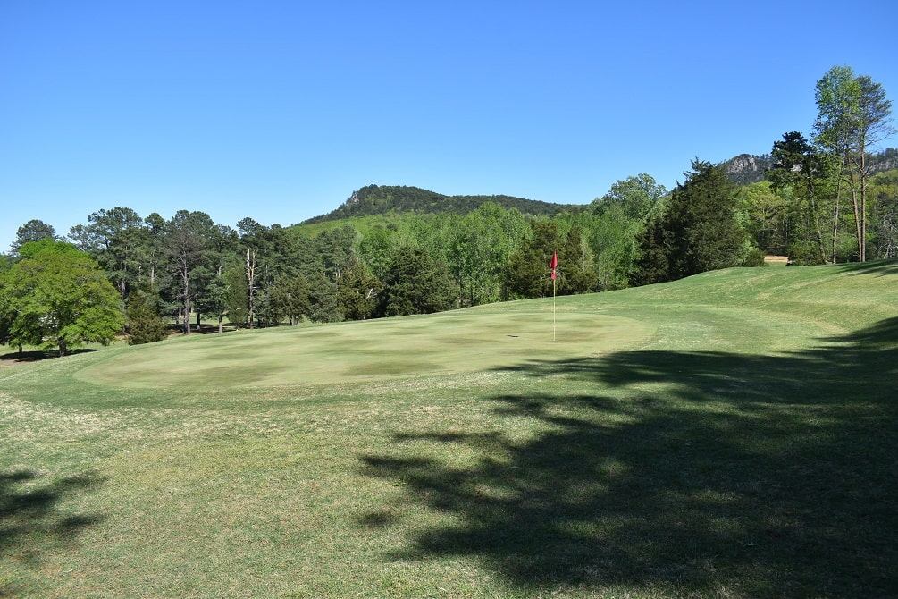 Crowders Mountain Golf Club second green in Kings Mountain, NC