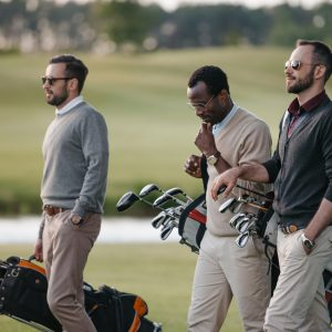 three guys golfing