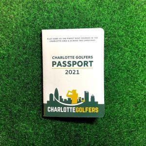 Charlotte Golfers Passport on green turf putting green